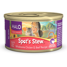 Halo Spots Stew for Cats Wholesome Beef and Chicken Cans
