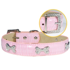 Faux Croc Collar with Bones Pink