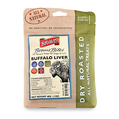 Bravo Bonus Bites Dry Roasted Buffalo Liver Dog Treats