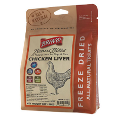 Bravo Bonus Bites Freeze Dried Chicken Liver Dog Treats