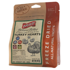 Bravo Bonus Bites Freeze Dried Turkey Hearts Dog Treats