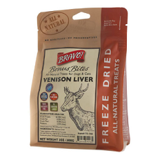 Bravo Bonus Bites Freeze Dried Venison Liver Dog Treats