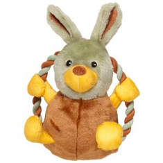 Chomper Natural Tail Waggers Plush Rope Rings Assorted