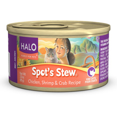 Halo Spots Stew for Cats Chicken Shrimp and Crab Cans