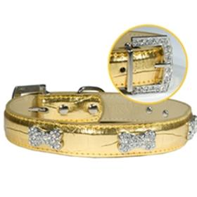 Gold Metallic Croc Bone Collar