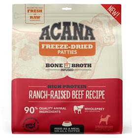 Acana Grain Free High Protein Fresh Raw Animal Ingredients Ranch Raised Beef Recipe Freeze Dried Patties Dog Food