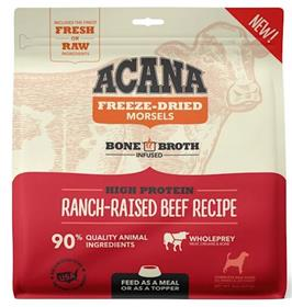 Acana Grain Free High Protein Ranch Raised Beef Recipe Freeze Dried Morsels Dog Food