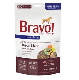 Bravo Bonus Bites Bison Liver Freeze Dried Dog Treats