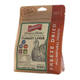 Bravo Bonus Bites Freeze Dried Turkey Liver Dog Treats