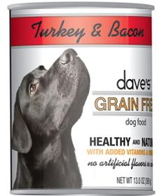 Daves Grain Free Canned Dog Food Turkey and Bacon Recipe