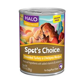 Halo Spots Choice for Dogs Turkey and Chickpea Cans