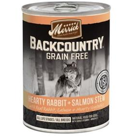 Merrick Backcountry Grain Free Hearty Rabbit and Salmon Stew Canned Dog Food