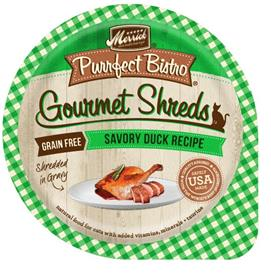 Merrick Purrfect Bistro Savory Duck Recipe Shredded in Gravy