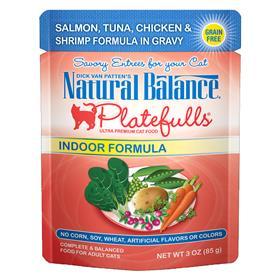 Natural Balance Indoor Formula Platefulls Salmon Tuna Chicken and Shrimp Formula in Gravy for Cats