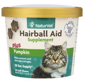 NaturVet Hairball Aid Supplement Plus Pumpkin Cat Soft Chews