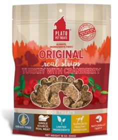Plato Original Real Strips Turkey Cranberry Dog Treats