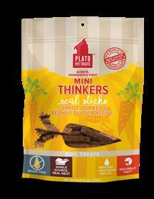 Plato Pet Treats Mini Thinkers Carrot Turkey Peanut Butter Grain Free Dog Treats