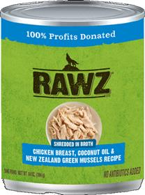 Rawz Dog Can Shredded Chicken Breast Coconut Oil New Zealand Green Mussels