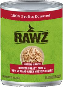 Rawz Dog Can Shredded Chicken Breast Duck New Zealand Green Mussels