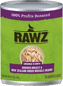 Rawz Dog Can Shredded Chicken Breast New Zealand Green Mussels
