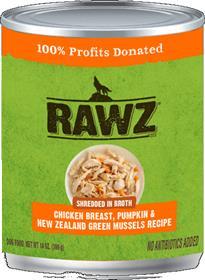 Rawz Dog Can Shredded Chicken Breast Pumpkin New Zealand Green Mussels