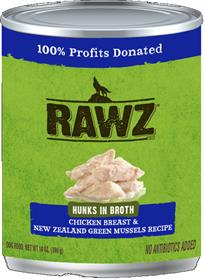 Rawz Hunks in Broth Chicken Breast and New Zealand Green Mussels Dog Food Can