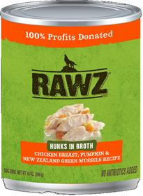 Rawz Hunks in Broth Chicken Breast Pumpkin and New Zealand Green Mussels Dog Food Can