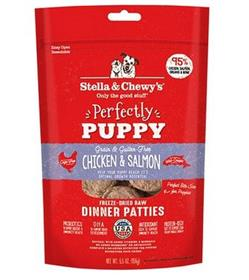 Stella and Chewys Perfectly Puppy Chicken Salmon Dinner Patties Freeze Dried Dog Food
