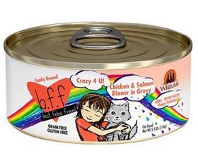 Weruva BFF OMG Crazy 4 U Chicken Salmon Dinner in Gravy Grain Free Canned Cat Food