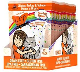 Weruva BFF OMG Purr Fect Plannin Chicken Turkey Salmon Dinner in Gravy Grain Free Cat Food Pouch