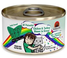 Weruva BFF OMG QT Patootie Chicken Turkey Dinner in Gravy Grain Free Canned Cat Food