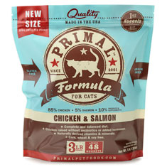 Primal Frozen Feline Chicken and Salmon Formula