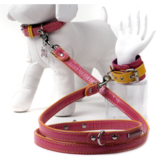 The Shabby Dog Walking Cuff Pink and Yellow