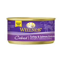 Wellness Cat Canned Cubed Turkey and Salmon Recipe